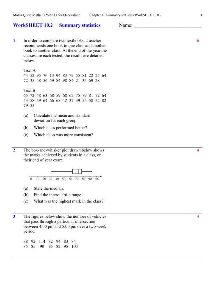 Worksheet 102 – Interquartile Range Worksheet