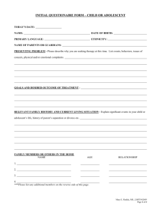 Initial Questionaire Form - Child or Adolescent