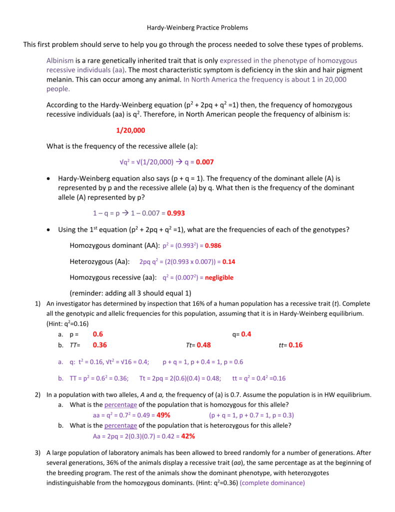 Worksheets Hardy Weinberg Worksheet hardy weinberg practice problems this first problem should serve