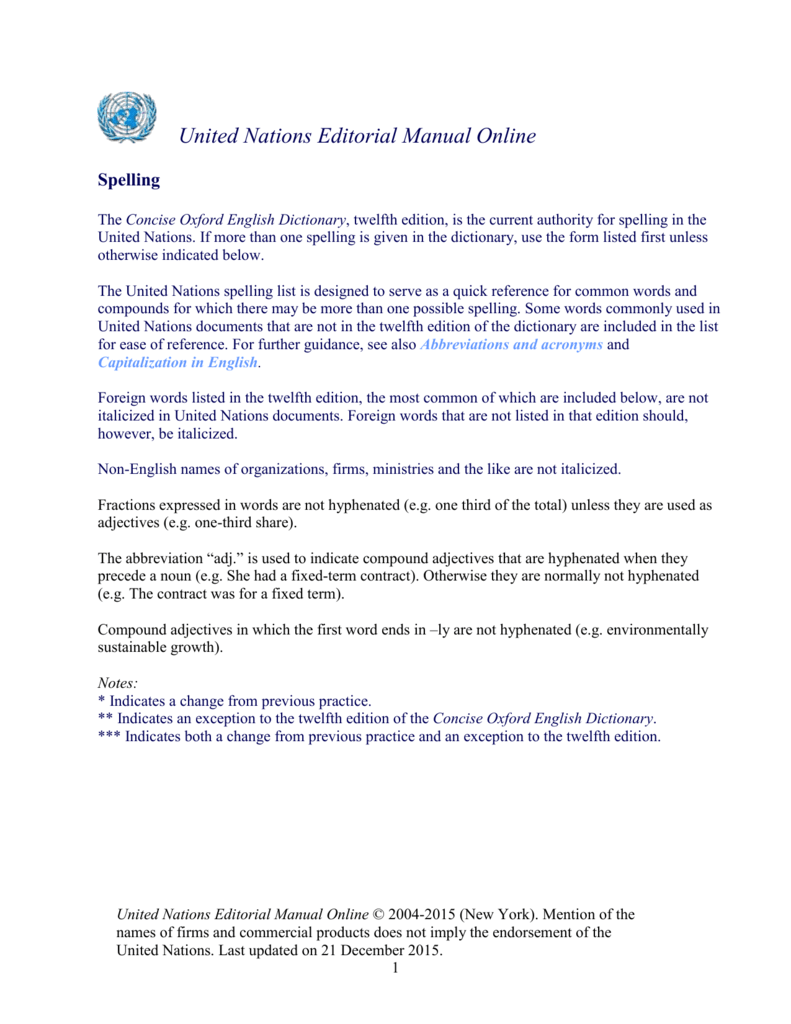 United Nations Editorial Manual Online