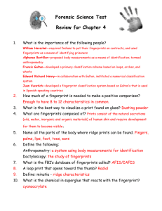 Forensic Science Test Review for Chapter 4 What is the importance