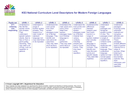 KS3 National Curriculum Level Descriptors for Modern Foreign