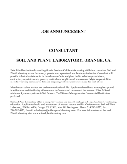 JOB ANNOUNCEMENT - Soil and Plant Laboratory Inc.