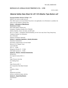 Material Safety Data Sheet for all alkaline cells