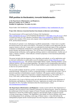 1(3) PhD position in biochemistry towards bioinformatics at the