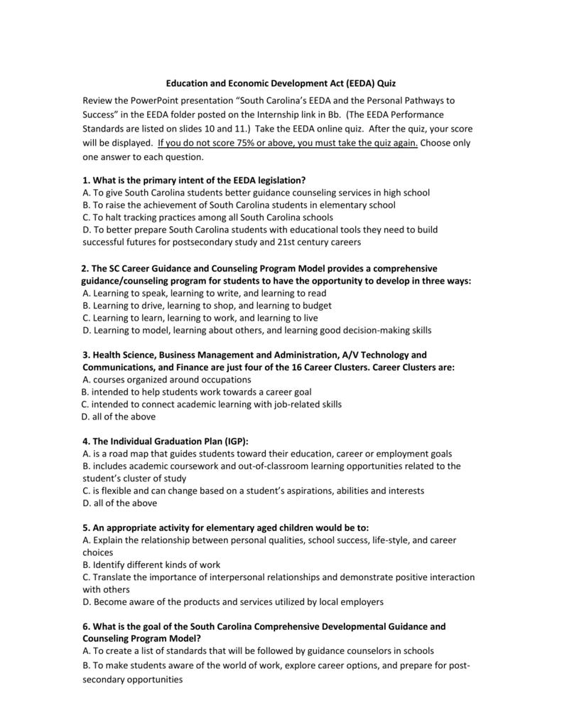 pilot eeda quiz rh studylib net Financial Literacy Personal Finance My Portfolio