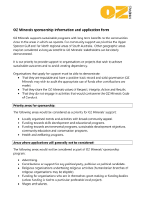 OZ Minerals sponsorship information and application form OZ