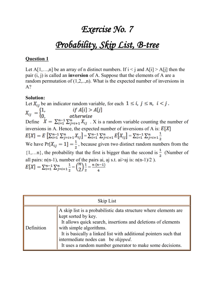 Probability, Skip List, BTree