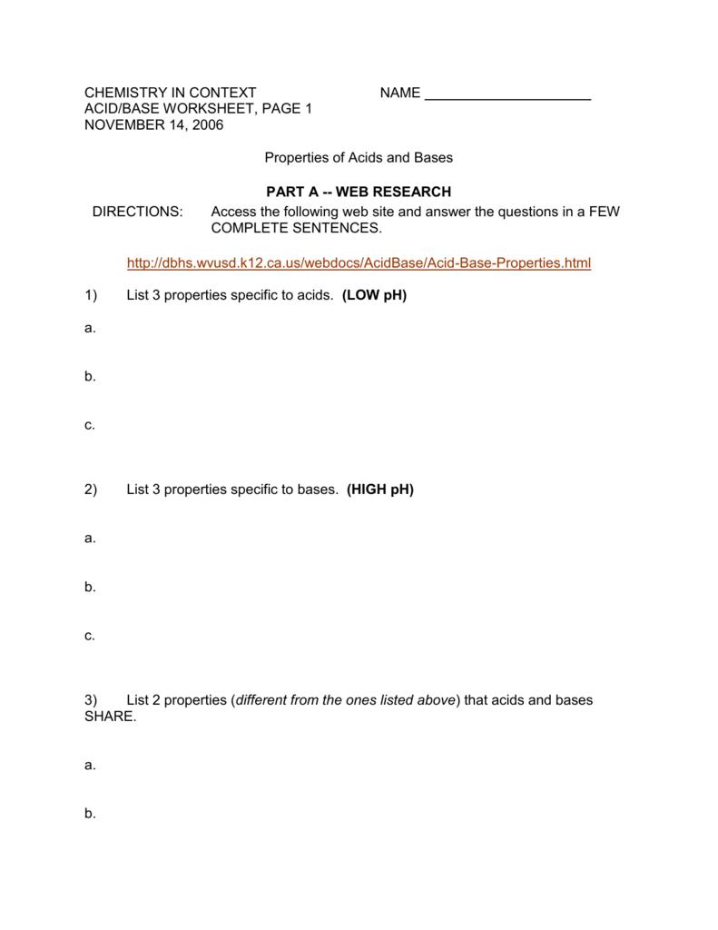 Acid/Base Worksheet #1