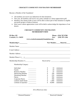 Membership Form - Crockett Community Foundation