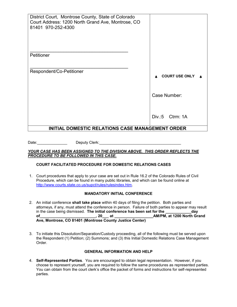 Montrose County, Colorado district court INITIAL DOMESTIC
