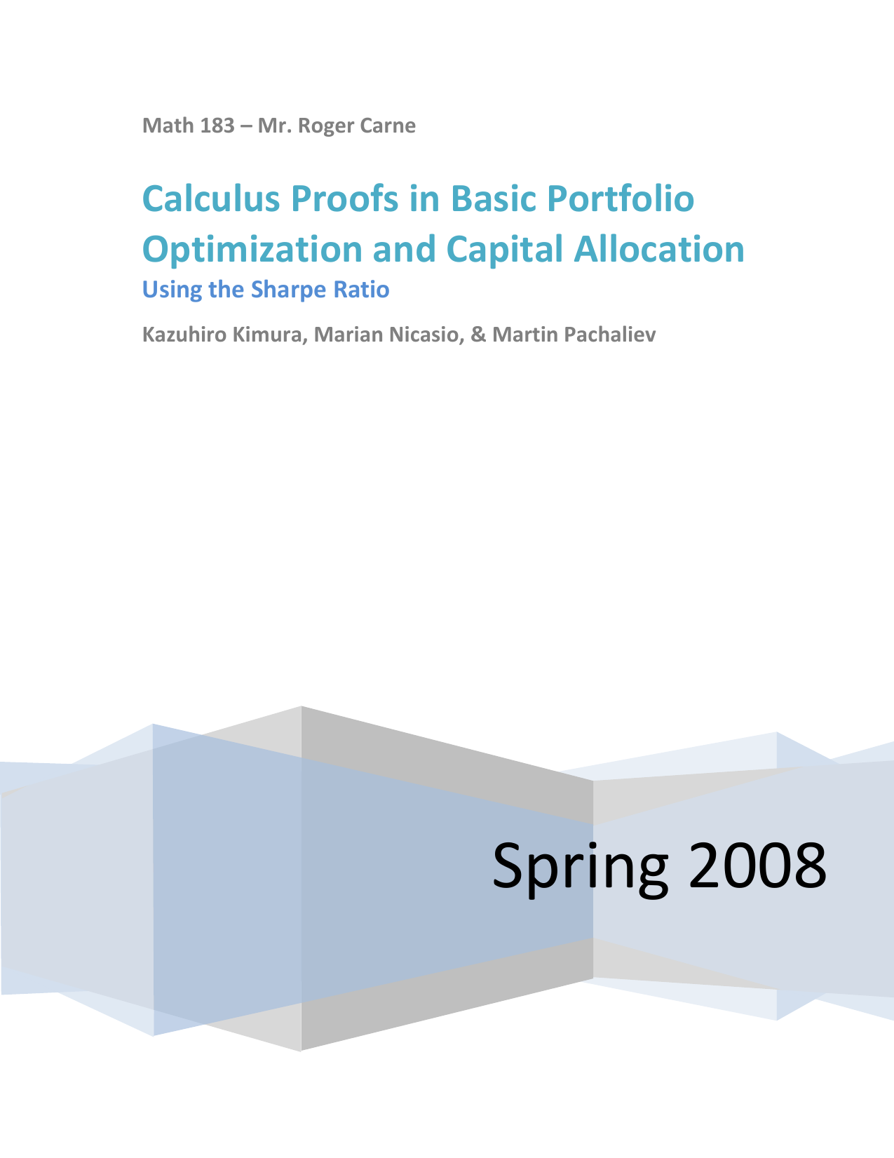 Calculus Proofs in Basic Portfolio Optimization and Capital