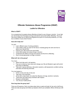 Offender Substance Abuse Programme Leaflet for Offenders