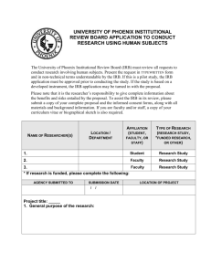 university of phoenix institutional review board application