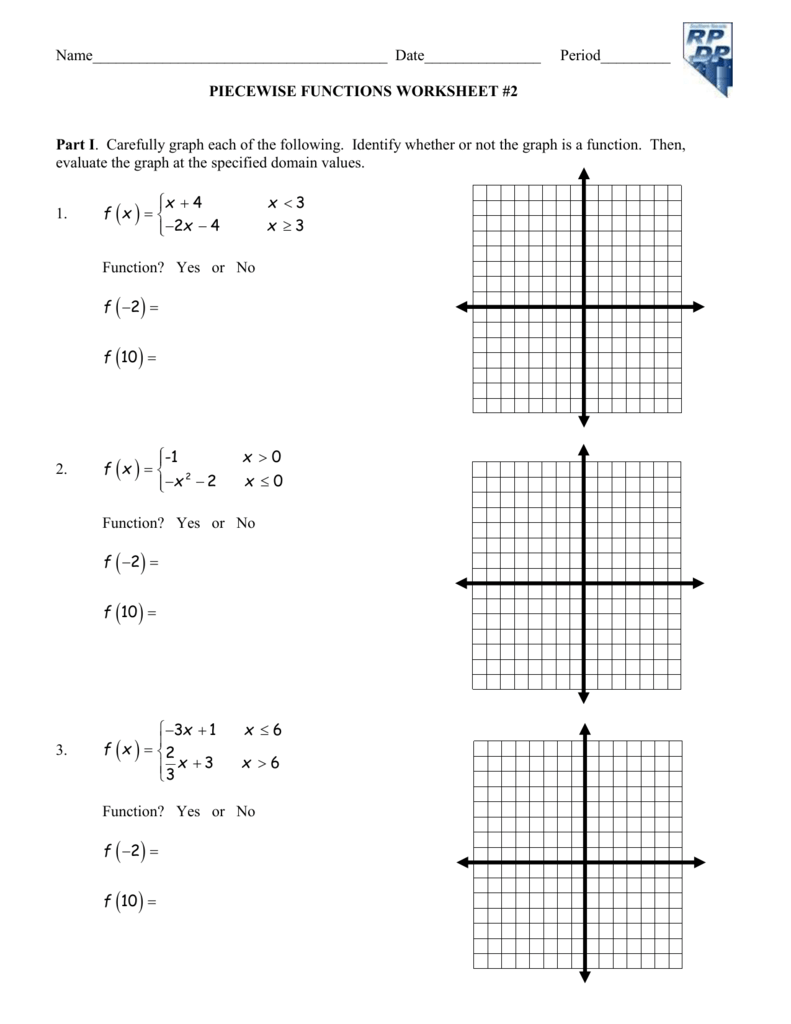 Worksheet Piecewise Functions Answer