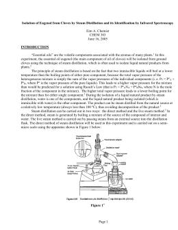 steam distillation of eugenol essay Distillation lab report steam distillation was used because of the high boiling point of eugenol juliet essay conclusion steam distillation lab conclusion.