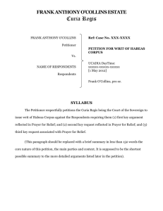 FRANK ANTHONY O`COLLINS Petitioner Vs. NAME OF