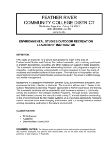 Environmental Studies/ Outdoor Recreation Leadership Instructor