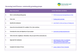 Accessing Land Process for Community Groups