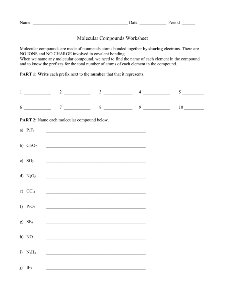 worksheet Molecular Compounds Worksheet molecular compounds ws
