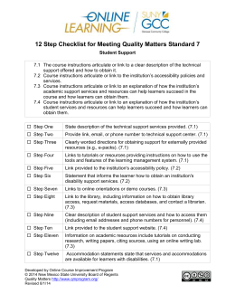 12 Step Checklist for Meeting Quality Matters Standard 7