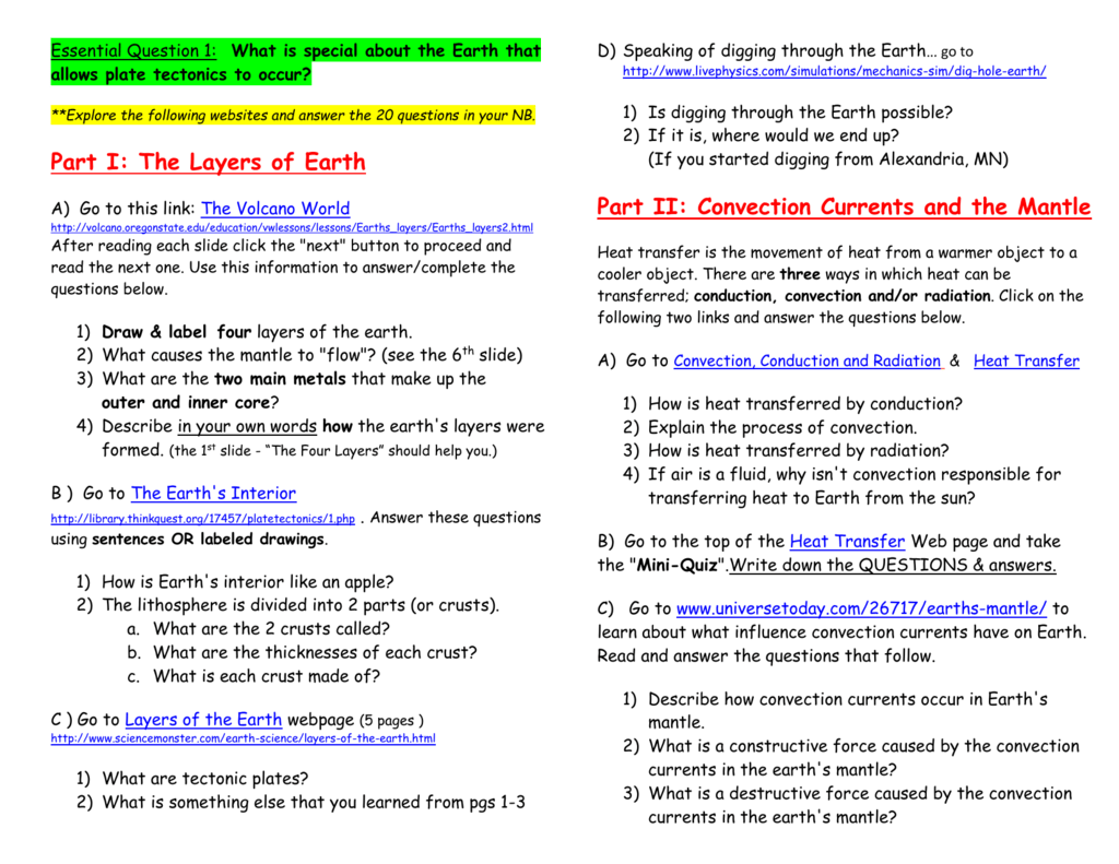 Part 1 The Layers Of Earth