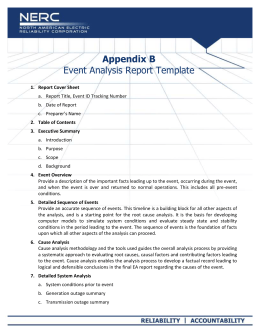 Appendix B - Event Analysis Report Template