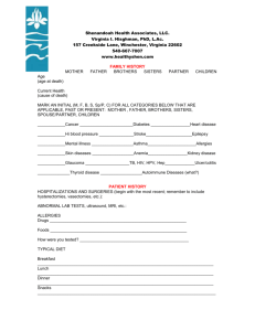 Health History Form - Shenandoah Health Associates