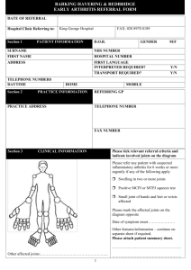 Early Arthritis referral form