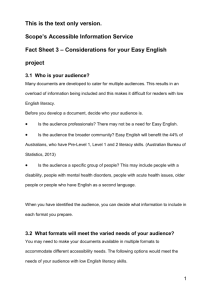 Considerations for your Easy English