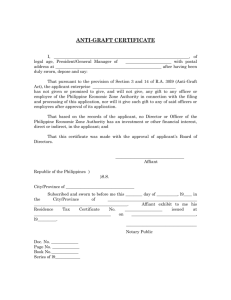 Anti-Graft Certificate - Philippine Economic Zone Authority