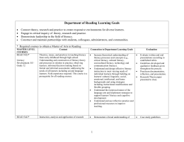 Department of Reading Learning Goals