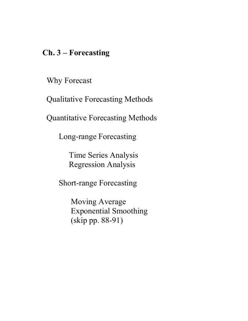 Ch  3 – Forecasting