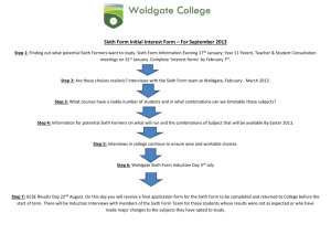 Sixth Form Initial Interest Form – For September 2013 Step 1