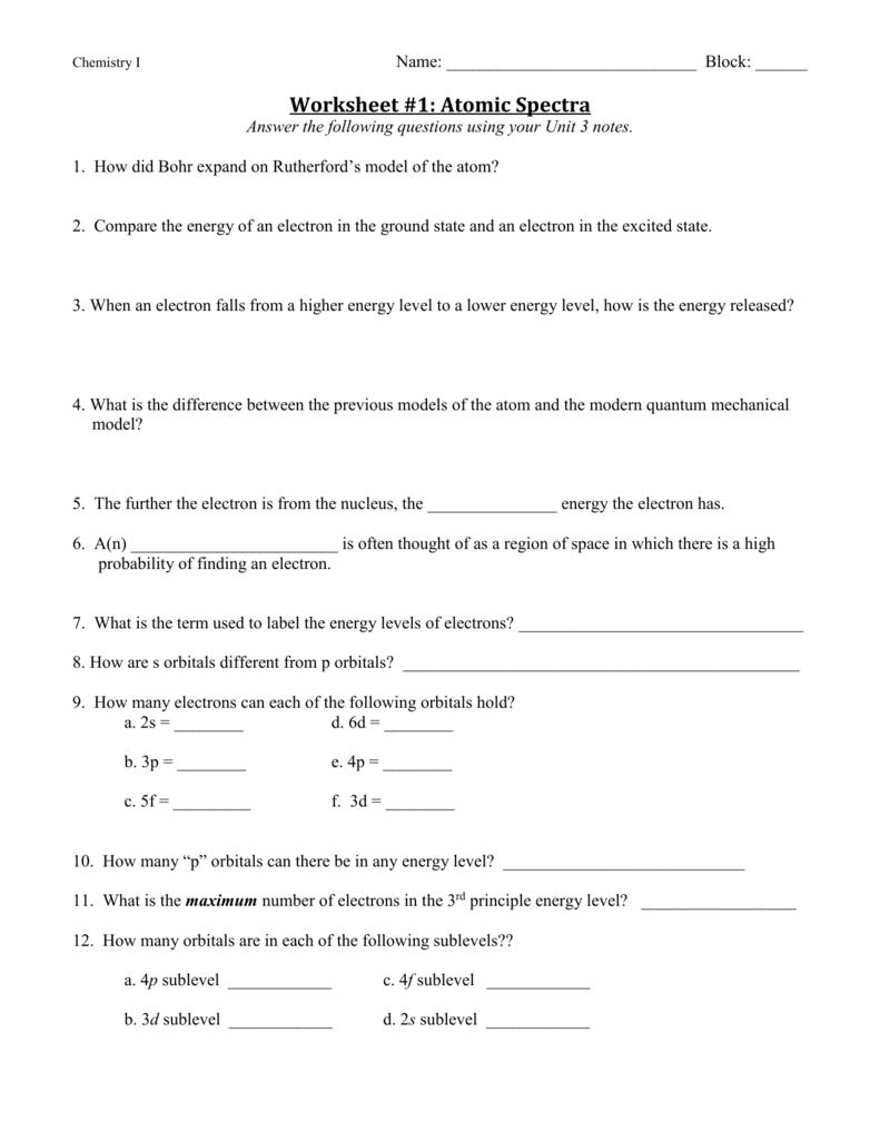 Atomic Orbitals Worksheet