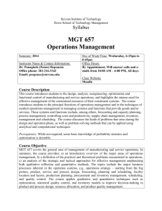 Operations Management - Stevens Institute of Technology
