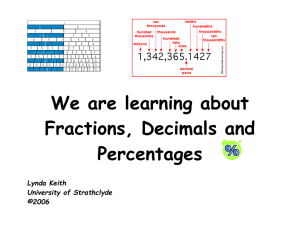 Fractions Decimals and Percentages - Lynda Keith