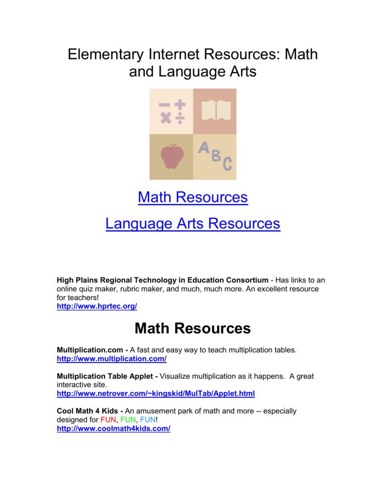 Elementary Internet Resources: Math and Language Arts
