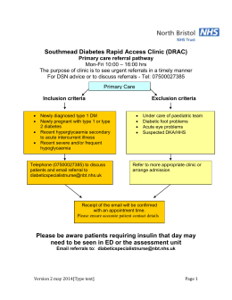 Diabetes Rapid Access Clinic (DRAC) Primary Care Referral