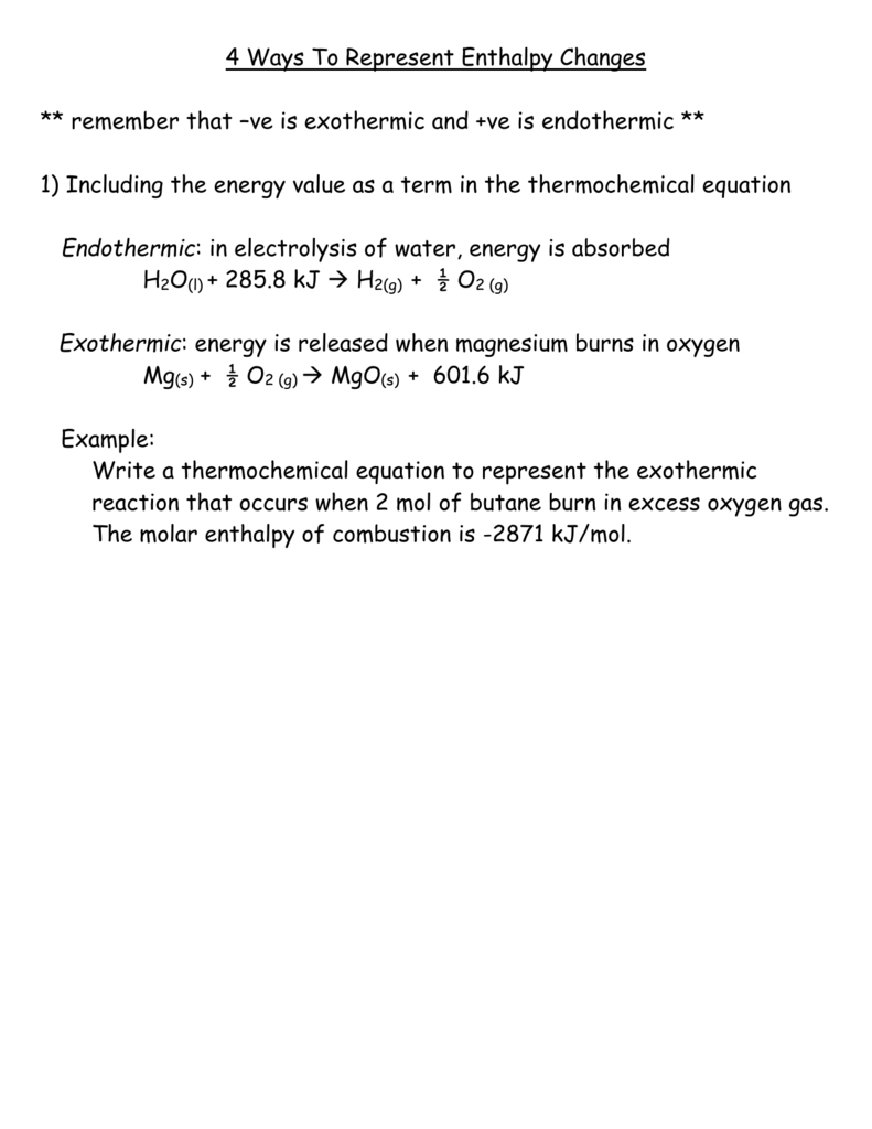 4 Ways To Represent Enthalpy Changes