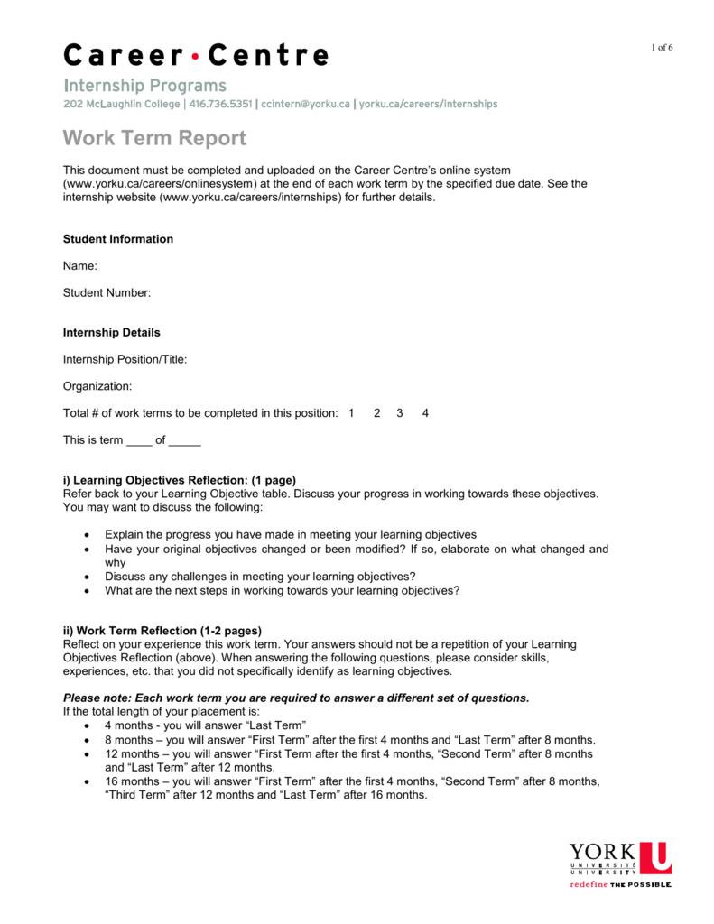 Work Term Report Template