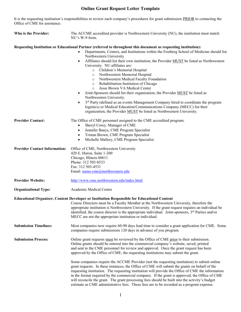 Online Grant Request Letter Template