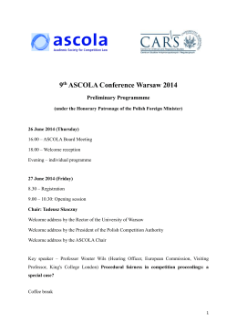 9th ASCOLA Conference Warsaw 2014 Preliminary Programmme