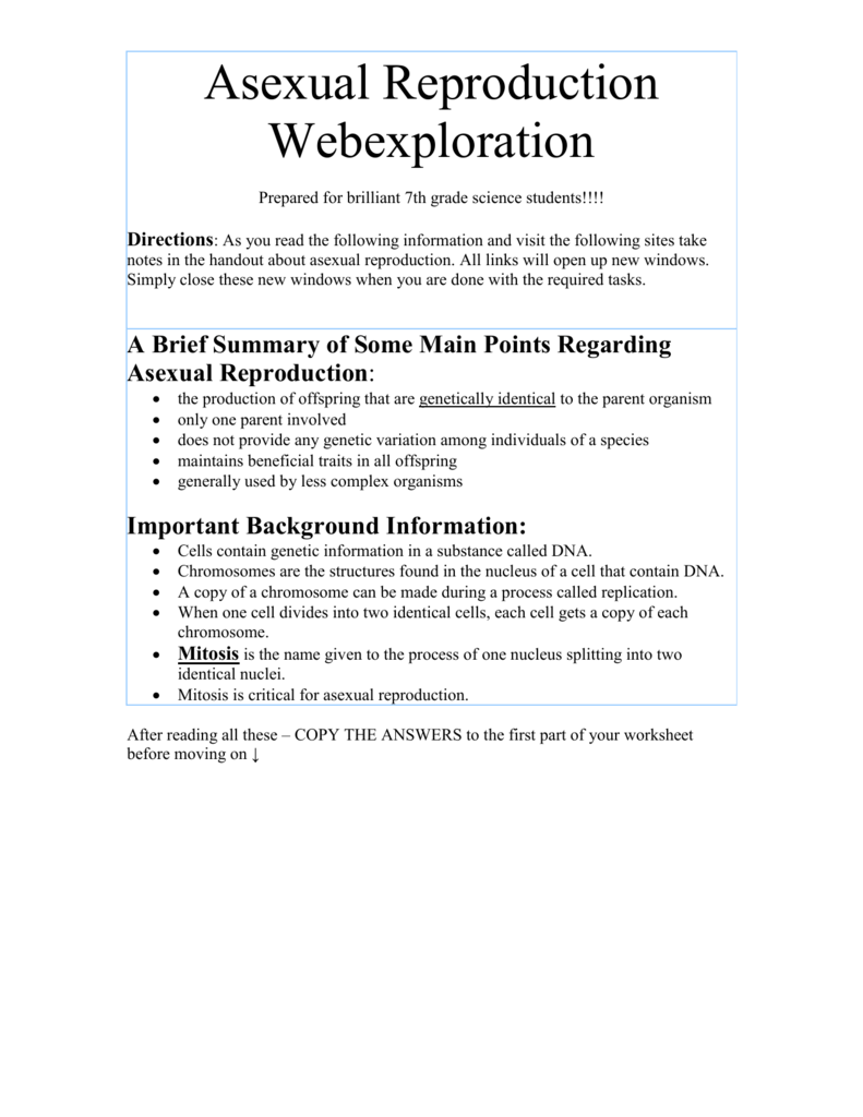List all types of asexual reproduction webquest