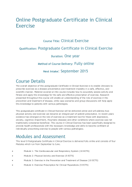 Online Postgraduate Certificate in Clinical Exercise
