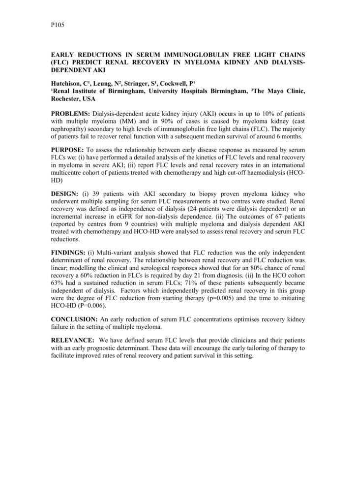 early reductions in serum immunoglobulin free light chains (flc)