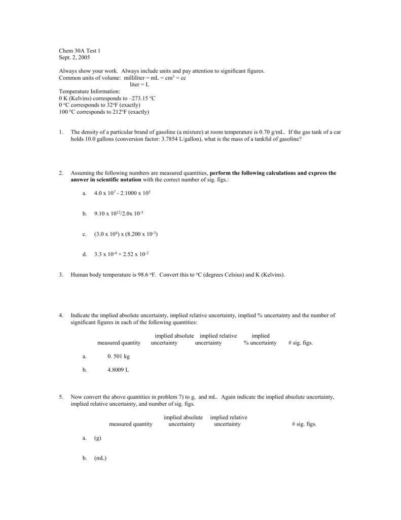 Chem 50 Test 1
