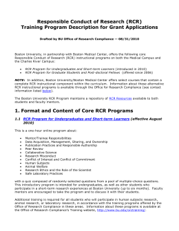 1. Format and Content of Core RCR Programs
