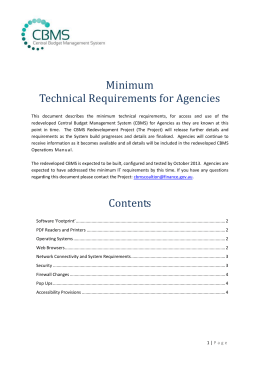 Minimum Technical Requirements for Agencies