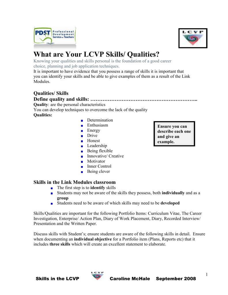 lcvp curriculum vitae example